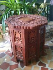 Vintage Moroccan Intricately Carved Teak table with inlaid Top