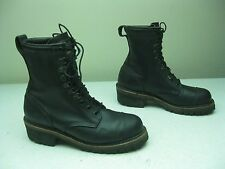 BLACK MADE IN USA  LACE UP LOGGER HIKING TRAIL FIRE FIGHTING WORK BOOTS 9.5 M