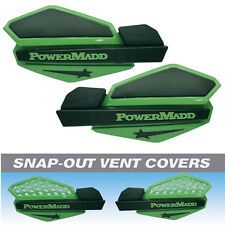 Powermadd Green/Black Star Snowmobile Handguards & Mount Kit Polaris/Skidoo etc
