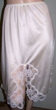 "BODY CHIC Half-Slip Sz 3X White Slippery Satin Nylon/Lace Made in USA 25"" Long"