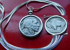 """Antique 1935 Buffalo Nickel Bezel on a 30"""" 925 Sterling Silver Herringbone Chain"""