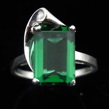 Vintage Retro Style 10k White Gold Ring with Green Stone Estate Mid Century