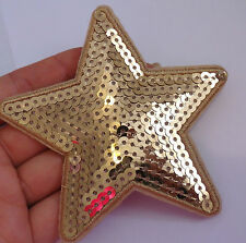 1 large gold star patches sequin applique patch motif iron on sew on badge UK