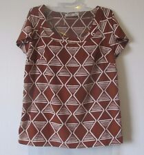 Women XS Old Navy Lt Brown Geometric Print Short Sleeve Scoop Neck Top Polyester