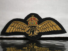 RARE BULLION EMBROIDERED ROYAL AIR FORCE PILOT WINGS - KING'S CROWN