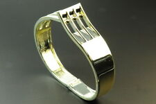 LADIES SILVER TONE STATEMENT BUCKLE/FORK STYLE ADJUSTABLE BANGLE (ZX1)
