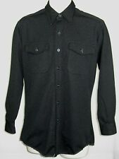 Men  Davis Polyester BLACK  work longsleeves Shirt top cotton vtg 15. 35 GUC!