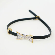 Alexis Bittar Crystal Origami Bow Choker Leather Wrap Necklace