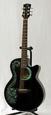 Luna Fauna Dragon Black Acoustic-Electric Guitar with Downsized Cutaway Bod