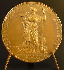 Medaille allégorie de la tempérance alcoolisme Oudiné alcoholism 1928 medal
