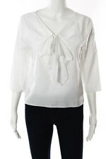 Tibi White Cotton Large Pleated Bow V-Neck Long Sleeve Blouse Size Medium