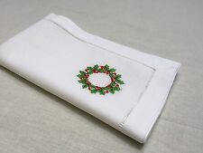 22 Inch White Ivory Hollyberry Christmas Hemstitch Linen Cloth Napkin Set of 12