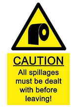 A5 Comedy Workplace Toilet Sticker - Spillage Bio Hazard Chemical Accident Joke