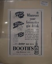 Original 1938 Vintage Advertisement mounted ready to frame Booth's Gin