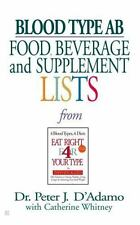 Blood Type AB Food Beverage & Supplement Lists Peter D'Adamo Pocketbook WT46799