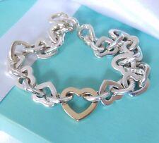 """Tiffany & Co Sterling Silver & 18K Gold Heart Link 8"""" Bracelet Pouch Beautiful!"""