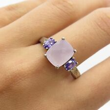 925 Sterling Silver Faceted Lilac Quartz & Amethyst Gem Women's Ring Size 11