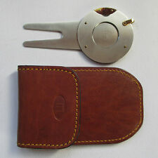 Dunhill - Cigar Guillotine Cutter & Golf Divot Tool - Leather Pouch - Genuine