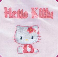 Cute Kitty Hello Kitty Custo Cross Stitch Kit By DMC Using Waste Canvas