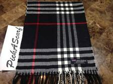 NEW CASHMERE Scarf Black Red SCOTLAND WOOL B75 Men Women Big Check Loop Plaid