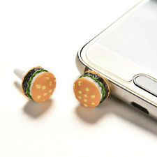 2x Cute Simulated Hamburger Phone Anti Dust Plug For 3.5mm Earphone Jack Plug .