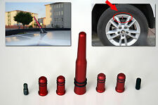 SKODA SERIES RED ANTENNA WITH 4 TIRE VALVE COVERS COMPATIBLE FOR FM/AM RADIO