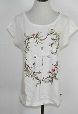 EDC by ESPRIT T-Shirt mit Print Baumwolle creme weiß Gr. S NEU UVP 25,99€