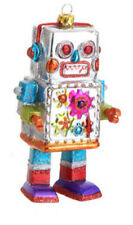 "RAZ 5.5"" Blown Glass Robot Christmas Ornament-Choice of Red, Teal Or White Body"
