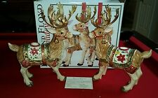"Fitz and Floyd ""Father Christmas"" Reindeer Candle Holders ~Set of 2~ RARE"