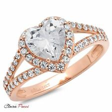 1.85CT Round Heart Cut Solitaire Engagement Wedding Ring Solid 14k Rose Gold
