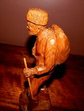 Antique woodcarving, Quebec artist, Paul E. Caron. Old Hunter in the North Woods
