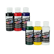 NEW Createx Primary 6pcs Color Airbrush Kit Set 2oz Bottles Craft Art Painting