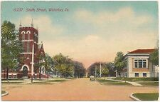 View on South Street in Waterloo IA Postcard 1912
