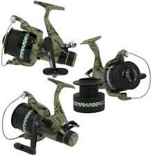 3 x LINEAEFFE COMMANDO 60 CAMO COLOUR CARP RUNNER FISHING REELS WITH 12LB LINE