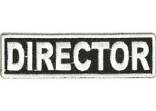 DIRECTOR WHITE 1 X 3 1/2 CLUB EMBROIDERED BIKER PATCH