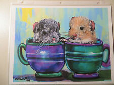 Kristine Kasheta - Open Edition Giclee Print ~ 2 Chinchillas in Tea Cups 11X8.5