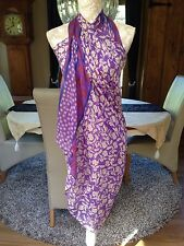 DESIGNER LARGE PURPLE ETHNIC PAREO SARONG BEACH WRAP COVER UP BNIP NEW