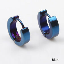 Cool Mens Titanium/Stainless Steel Hoop Pierced Ear Earring Studs Jewelry