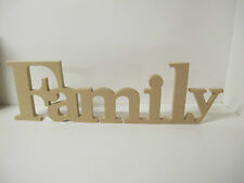 "WOODEN  LETTERS ""Family"" in Roman Font. QUALITY.120mm high Freestanding"