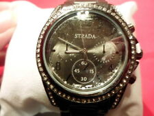 STRADA White Austrian Crystal Japanese Movt Watch, Titanium Colored Stainless