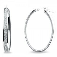 14k White Gold Oval Hoops Sparkling Earrings Diamond Look Sand Polished
