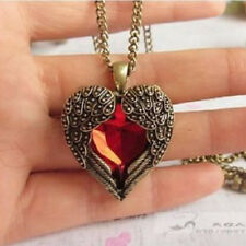 Lady Antique Bronze Angel Wings Red Crystal Heart Pendant Necklace Sweater Chain
