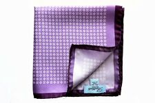 Battisti Pocket Square Light purple with white geometric pattern, pure silk