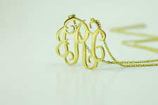 Handmade Personalised Monogram Necklace-18K Gold Plated Silver1''(1mm thickness)