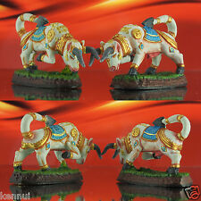 Pair of Thai Amulet Magic Bull Wua Thanoo ฺBrass Colorfully Hand-Painted