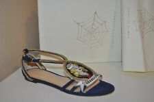 NIB 795+ Charlotte Olympia AHOY SAILOR Sandal  Suede Navy & Rope Gold Shoe 37 -7