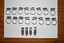 "Hose Clamps for Clear & Black Fuel Line with 1/4"" ID, 3/8"" OD 20pc"