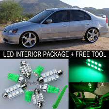 Green LED Interior Package Light Bulb 9X Kit For 2001 2005 Honda Civic + Tool J