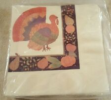 Vintage Party Express Paper Thanksgiving Turkey Napkins Lot of 6