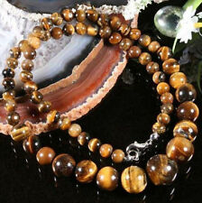 REAL NATURAL 6-14MM GENUINE TIGER EYE GEMS STONE ROUND BEADS NECKLACE 18""